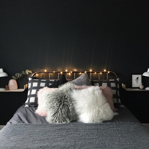 Love this elegant bedroom design with string lights. Cozy!
