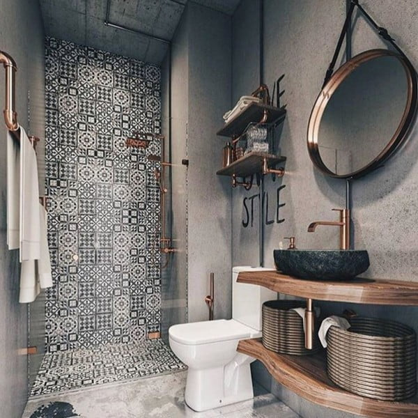 30 Unique Home Decor Ideas That Are Totally Doable - Shower tiles used perfectly for unique   accent