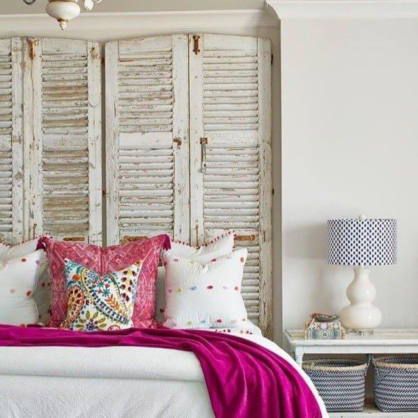 Love this  old shutter headboard decor idea!