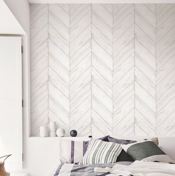 30 Unique Home Decor Ideas That Are Totally Doable - Love this gray herringbone plank accent wall! It makes awesome unique #homedecor and you can even #DIY
