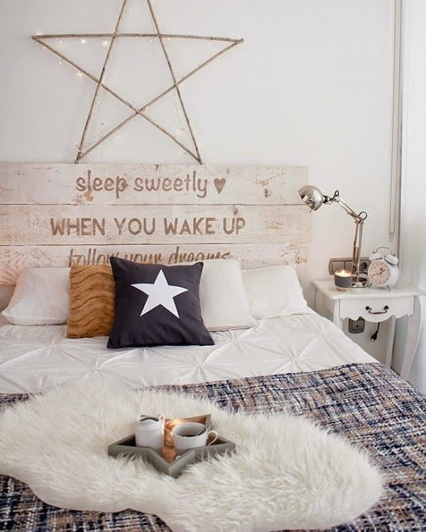 30 Unique Home Decor Ideas That Are Totally Doable - #Rustic headboard idea for unique accent in this #bedroom decor. Love it! #homedecor