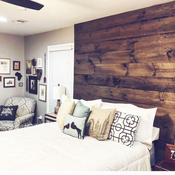 Love the look of this  wood plank accent headboard!