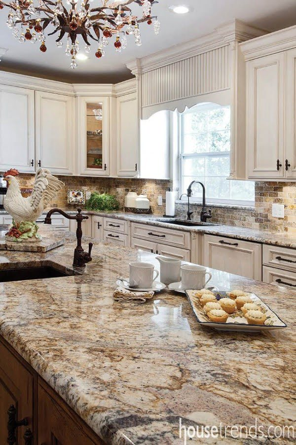 Gorgeous polished #granite countertops in this wonderful #kitchen design!