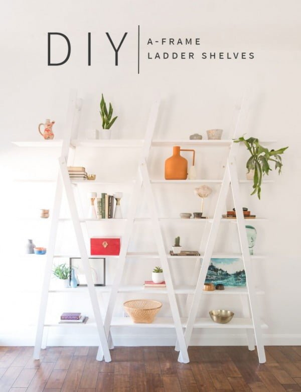 Check out this easy idea on how to make a #DIY ladder shelves #DIYHomeDecor #HomeDecorIdeas