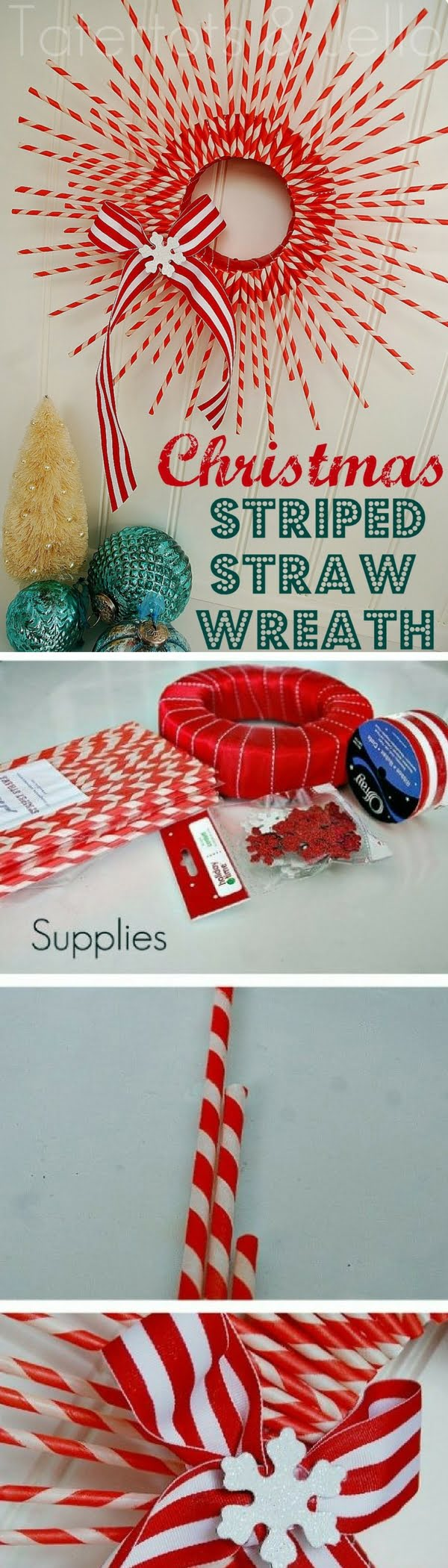 Check out this easy idea on how to make a #DIY striped straw #Christmas wreath #homedecor #crafts #project