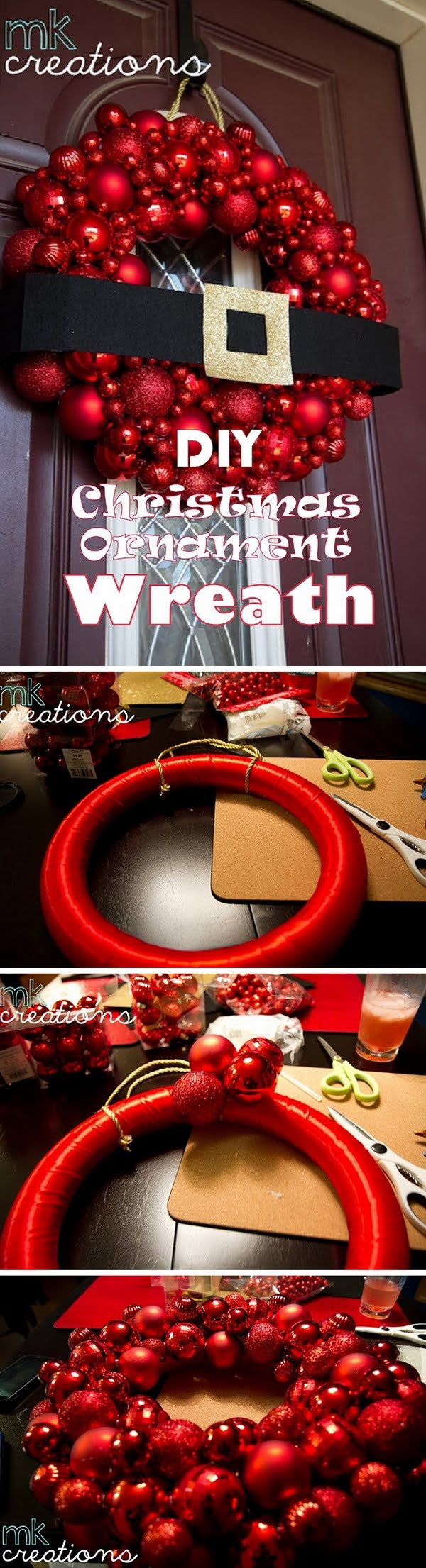 Check out this easy idea on how to make a #DIY #Christmas ornament wreath #crafts #homedecor #project