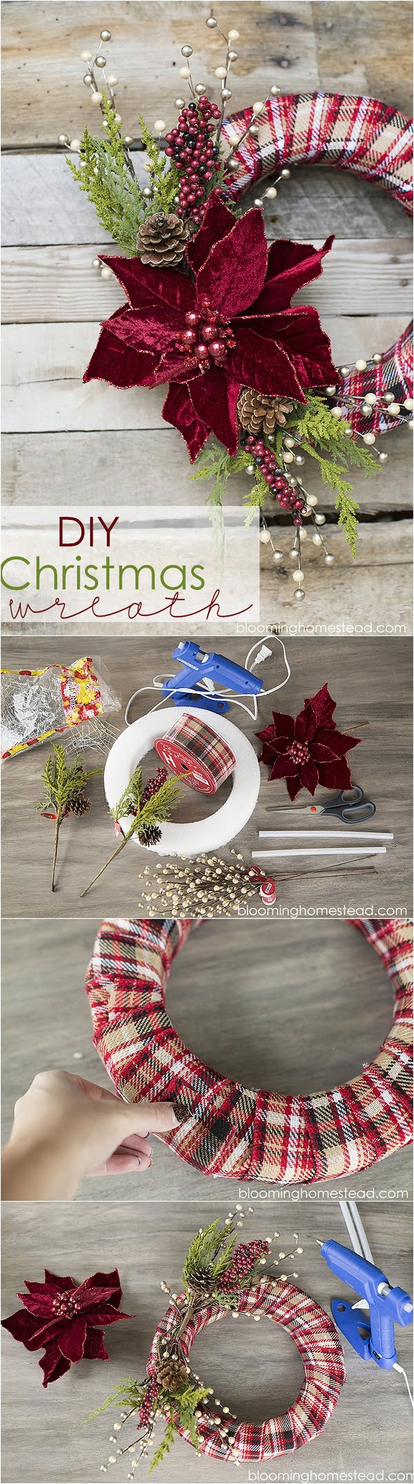 Check out this easy idea on how to make an elegant #DIY #Christmas wreath #homedecor #crafts #project