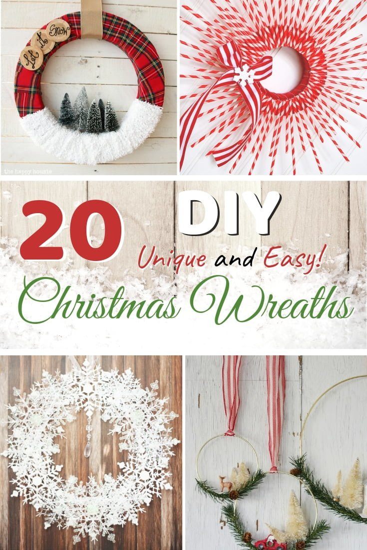 Make a unique Christmas wreath for these Holidays. Here are 20 easy ways to do it! #homedecor #holidays #christmas