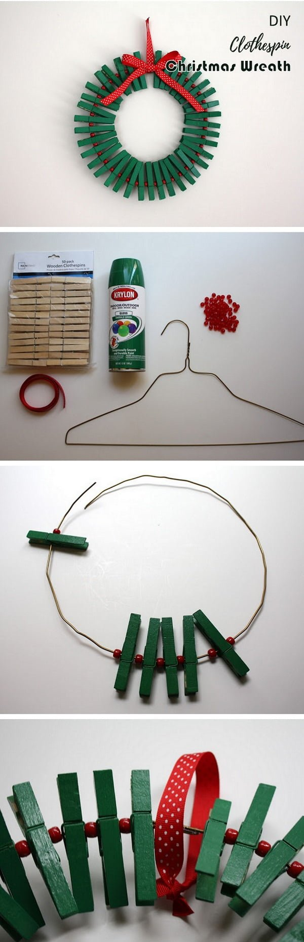 Check out this easy idea on how to make a #DIY clothespin #Christmas wreath #homedecor #crafts #project
