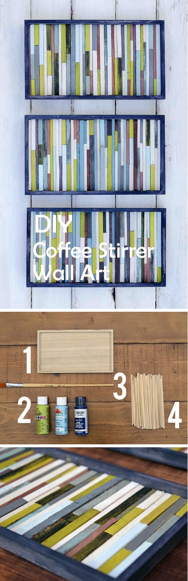 Check out this easy idea on how to make #DIY coffee stirrer wall art on a #budget #homedecor #crafts #project