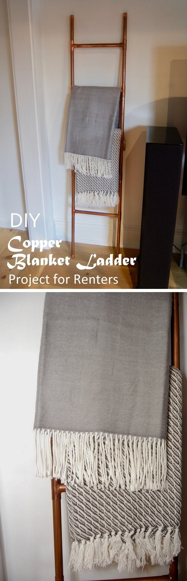 Check out this easy idea on how to make a #DIY copper pipe blanket ladder #homdecor for #renters #crafts #project