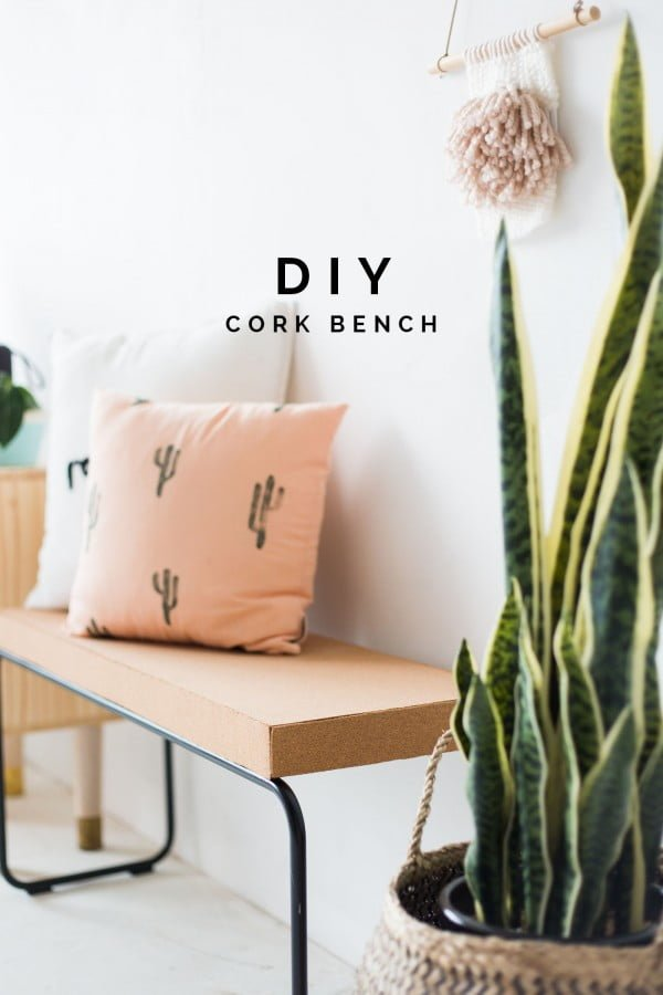 Check out this easy idea on how to make a #DIY cork bench #DIYHomeDecor #HomeDecorIdeas