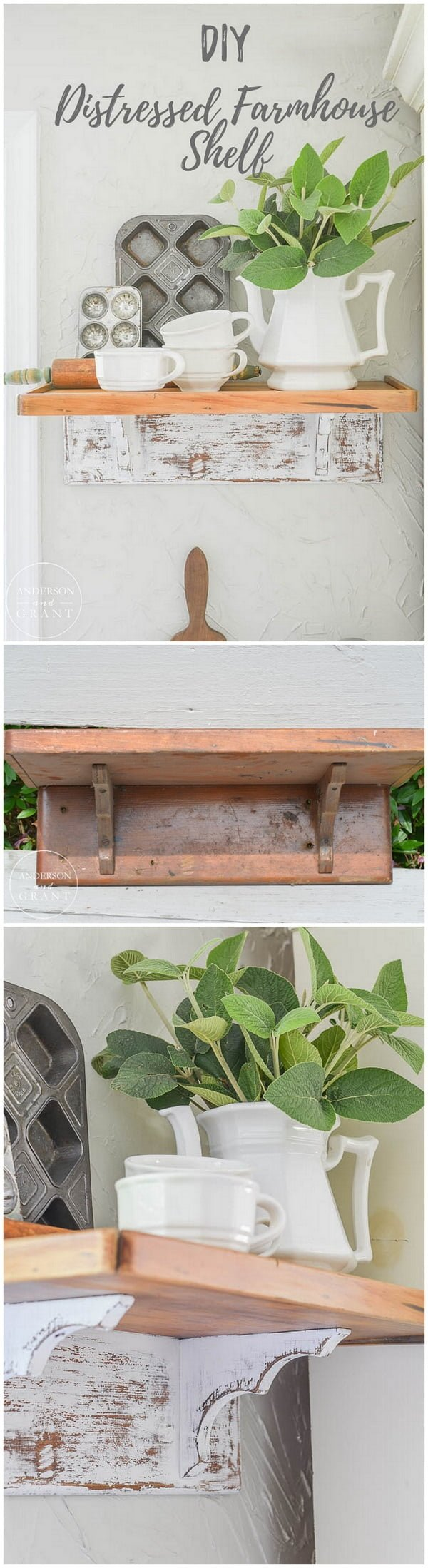 Check out this easy idea on how to make a #DIY distressed #farmhouse shelf #homedecor #crafts #project