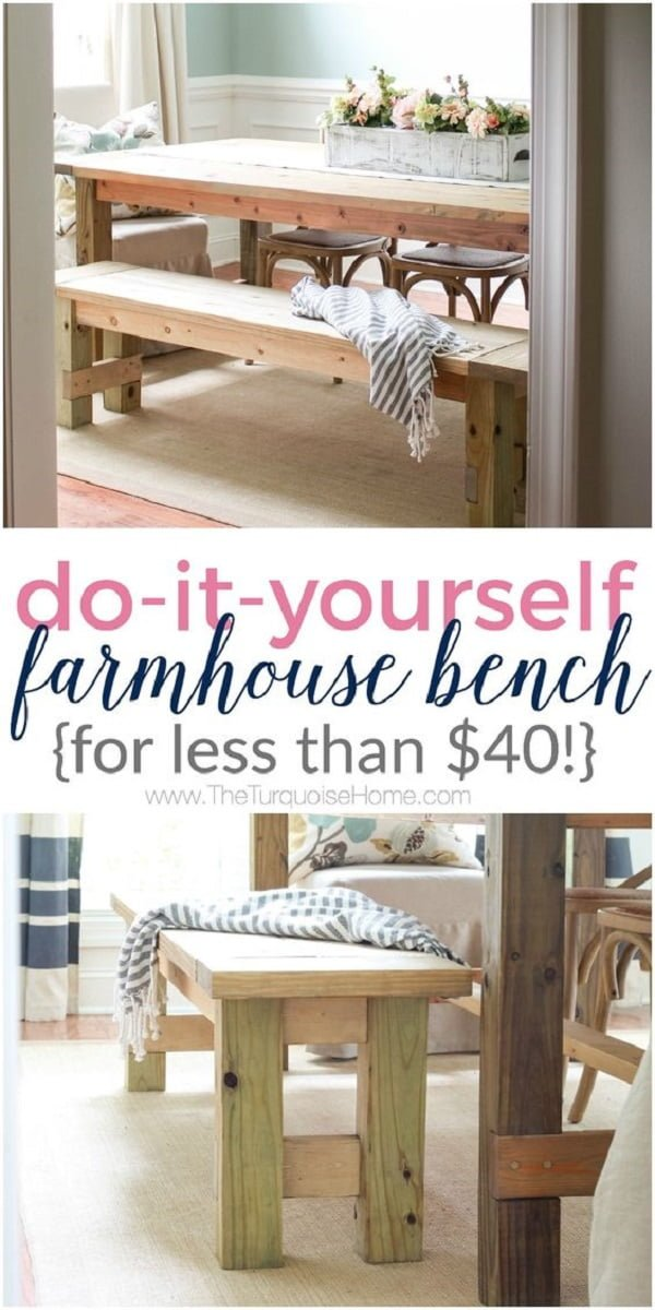 Check out this easy idea on how to make a #DIY #farmhouse bench #wood #homedecor #project