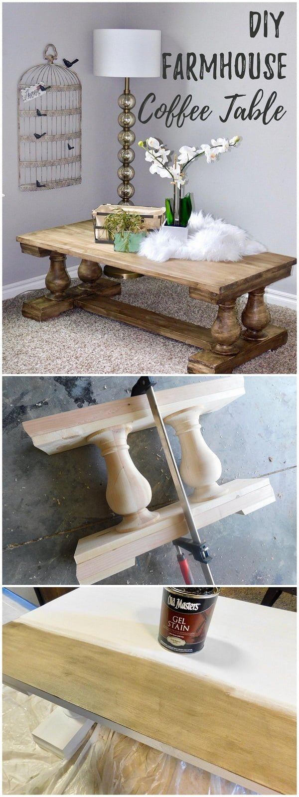 Easy idea on how to make a #DIY #farmhouse coffee table #homedecor #wood #project