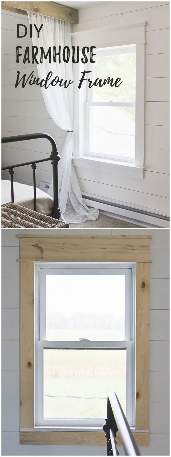 Check out this easy idea on how to make a #DIY #farmhouse window trim #homedecor