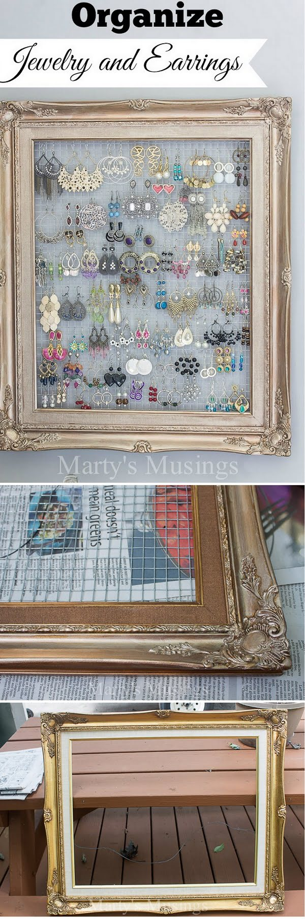 Check out this easy idea on how to make a #DIY framed jewelry organizer for #homedecor on a #budget #crafts #project