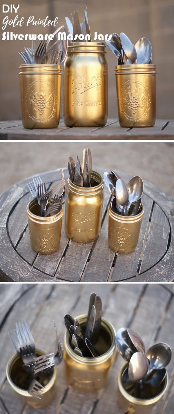 Check out this easy idea on how to make #DIY gold painted silverware #masonjars #homedecor on a #budget #kitchen