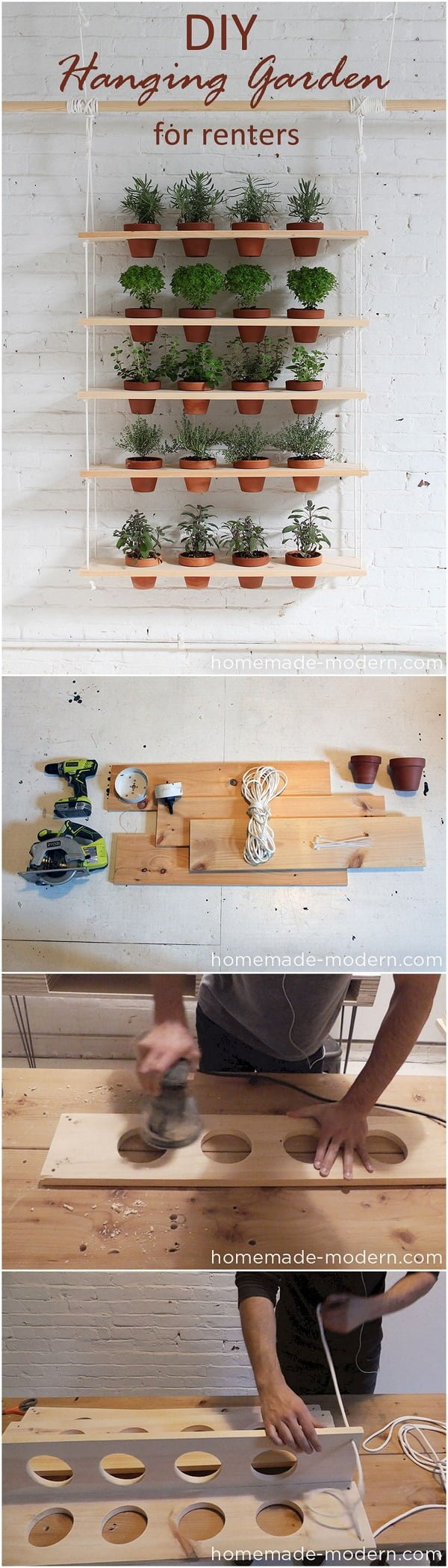 Check out this easy idea on how to make a #DIY hanging garden for #renters #homedecor #project