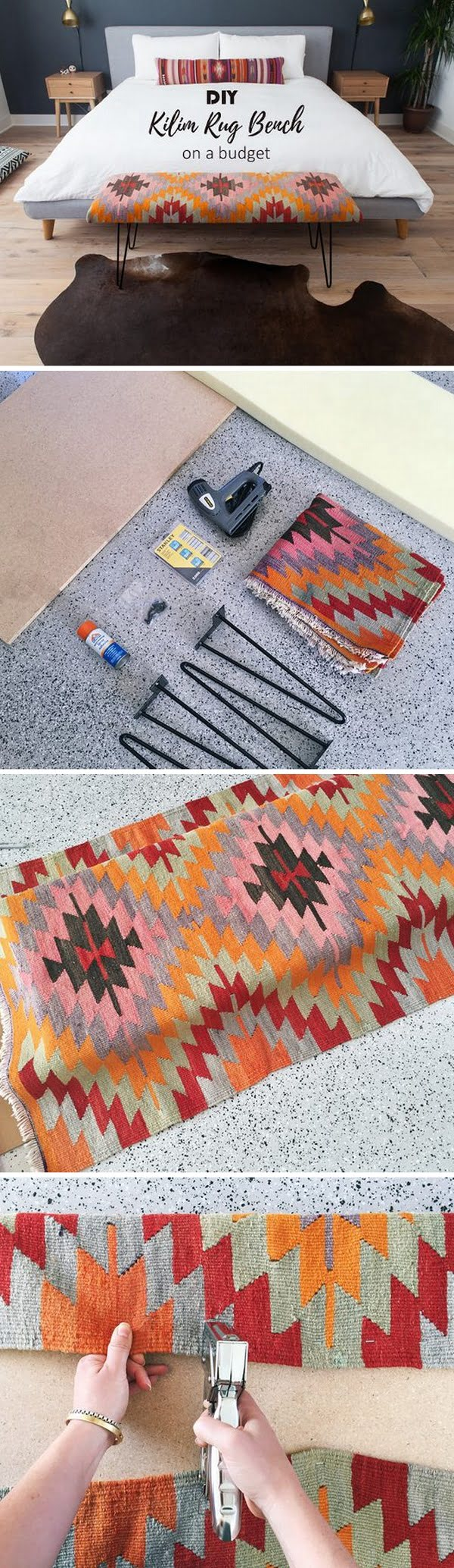 Check out this easy idea on how to make a #DIY kilim rug bench for #homedecor on a #budget #project #crafts