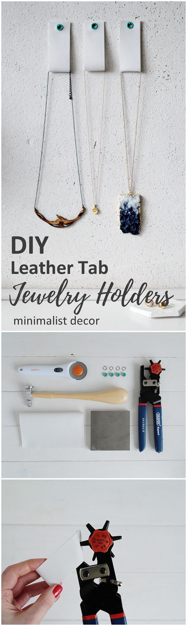 Check out this easy idea on how to make #DIY leather tab jewelry holders for minimalist #homedecor #crafts #project