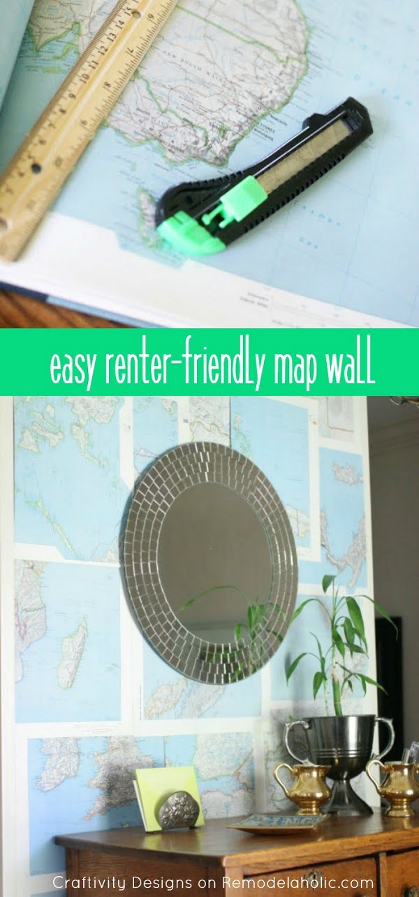 Check out this easy idea on how to make a #DIY map accent wall for #renters #apartments #homedecor #project
