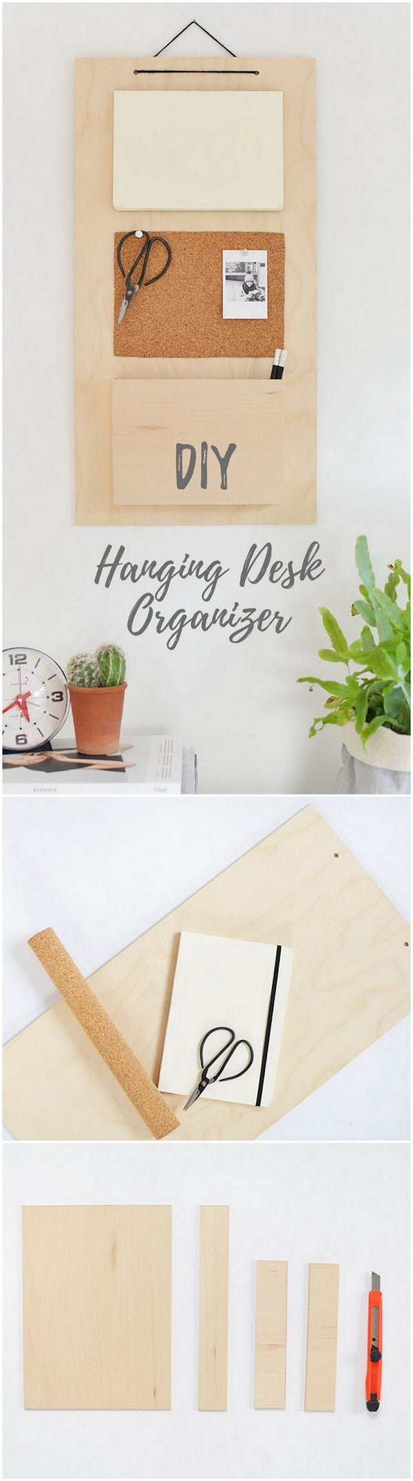 Check out this easy idea on how to make a #DIY minimalist hanging desk organizer #homedecor #crafts #wood #project