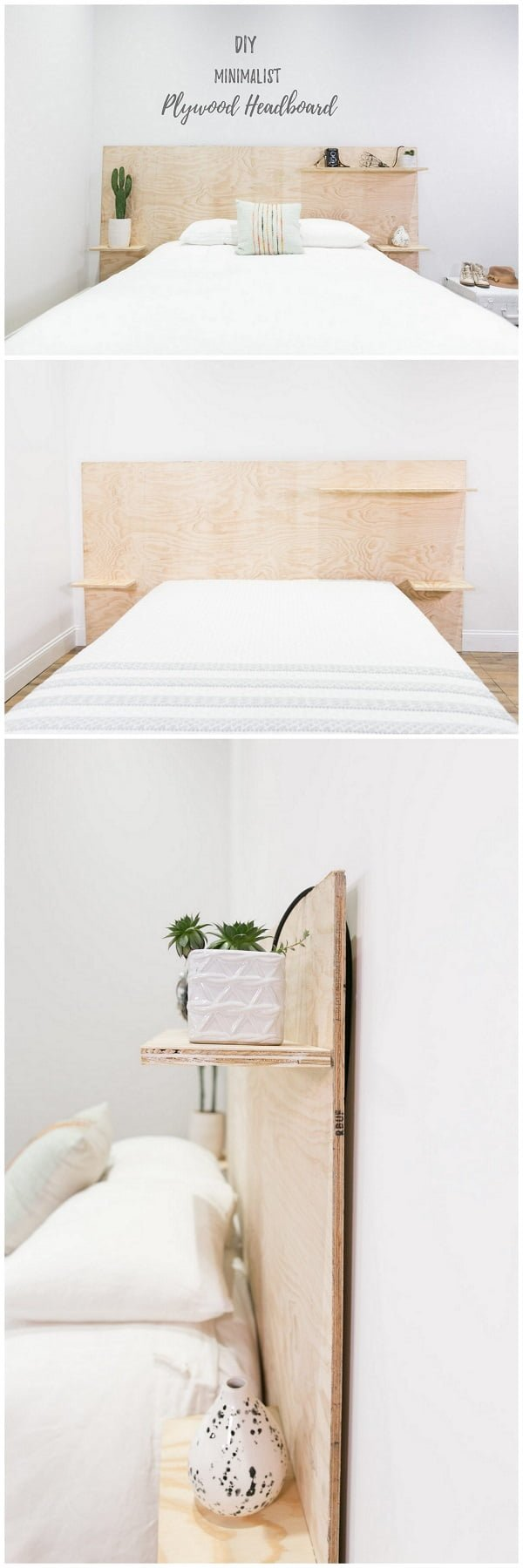 Check out this easy idea on how to make a #DIY minimalist plywood shelf headboard #homedecor #wood #crafts #project