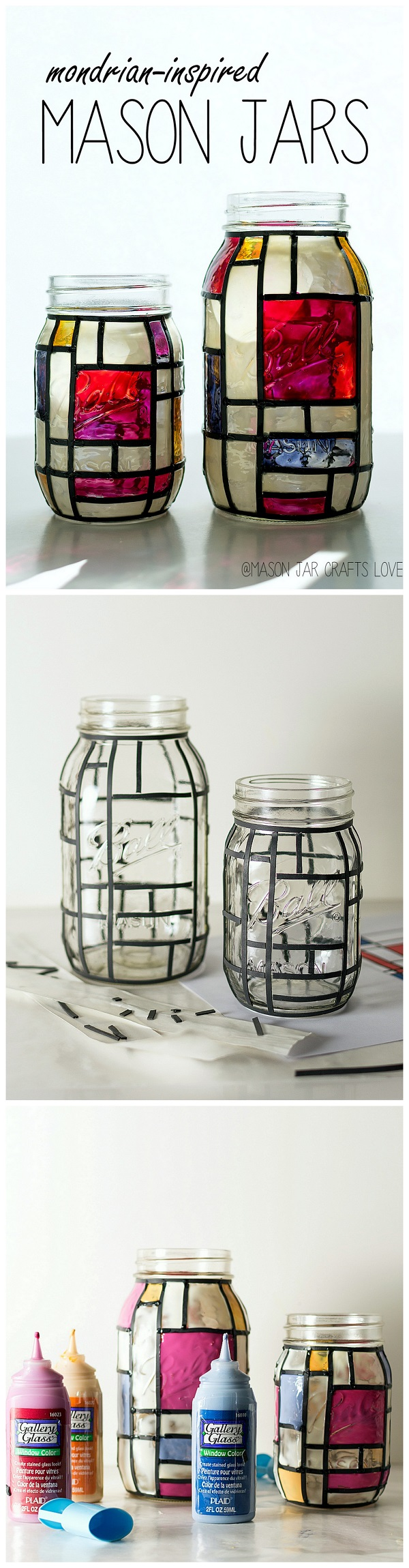 Check out this easy idea on how to make a #DIY Mondrian mason jar that you can make and #sell #homedecor #crafts