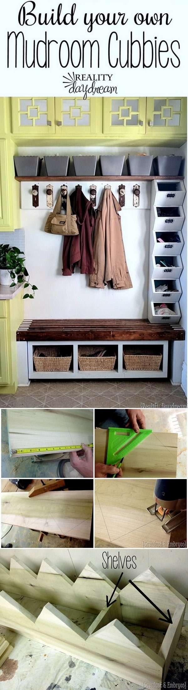 Check out this easy idea on how to build #DIY mudroom cubbies #homedecor on a #budget #wood #project