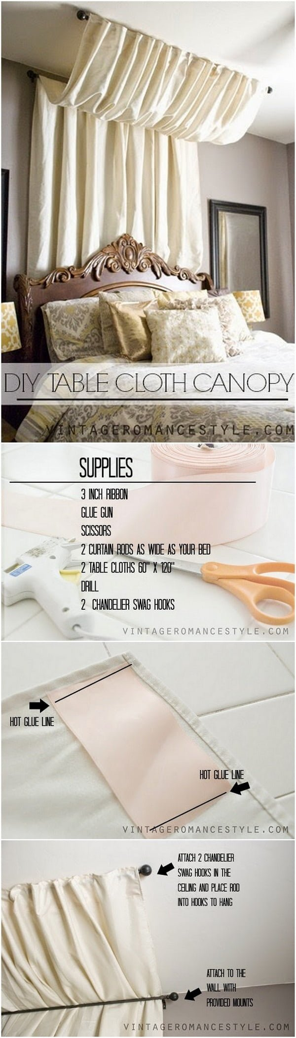 Check out this easy idea on how to make a #DY no sew table cloth canopy #homedecor for #renters #project