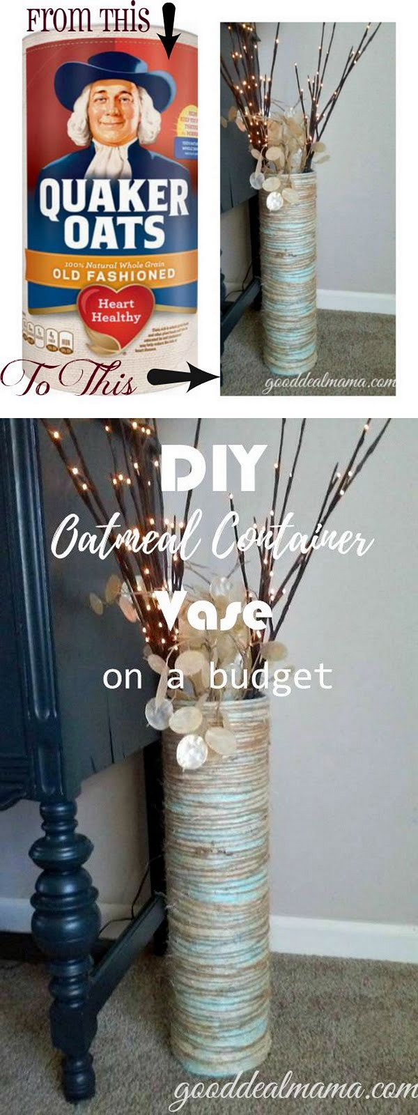 Check out this easy idea on how to make a #DIY oatmeal container vase for #homedecor on a #budget #crafts #project