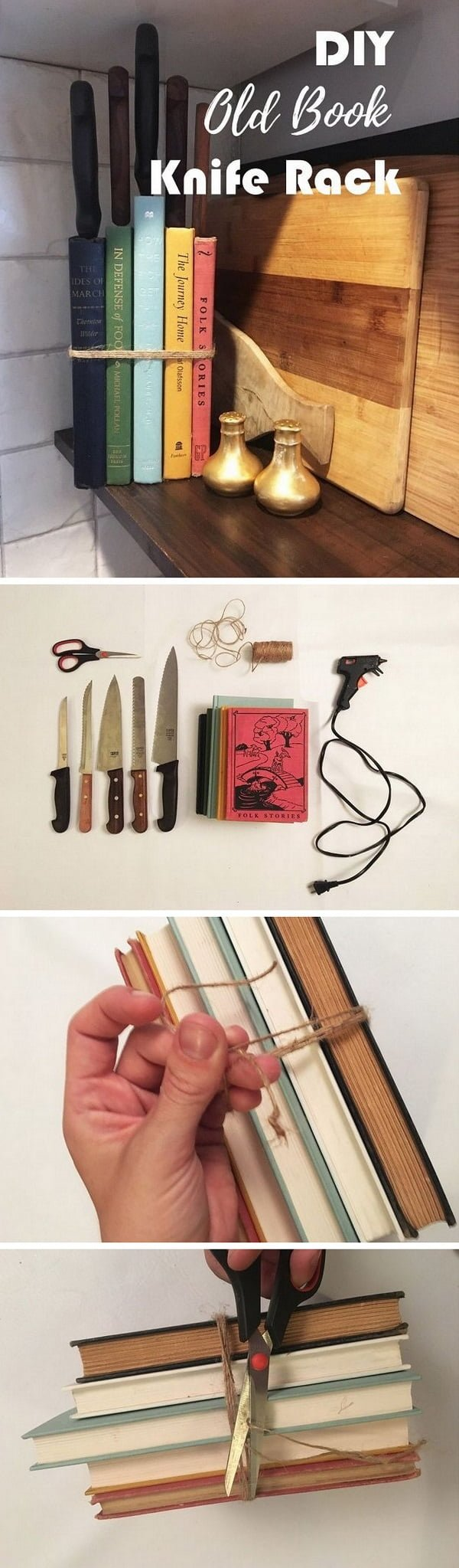 Check out this easy idea on how to make a #DIY old book knife rack #kitchen #homedecor on a #budget #crafts
