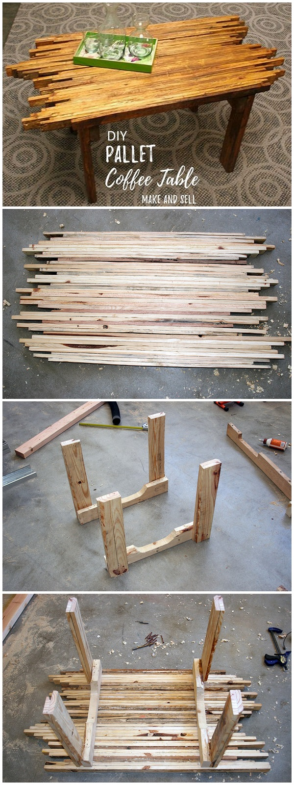 Check out this easy idea on how to make a #DIY #pallet coffee table that you can make and sell #crafts #homedecor #project