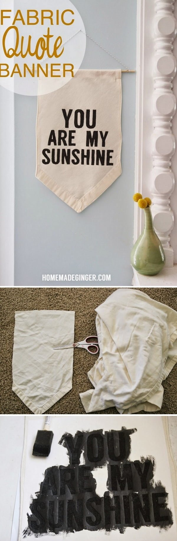 Check out this easy idea on how to make a #DIY fabric quote banner #homedecor for #renters #crafts #project