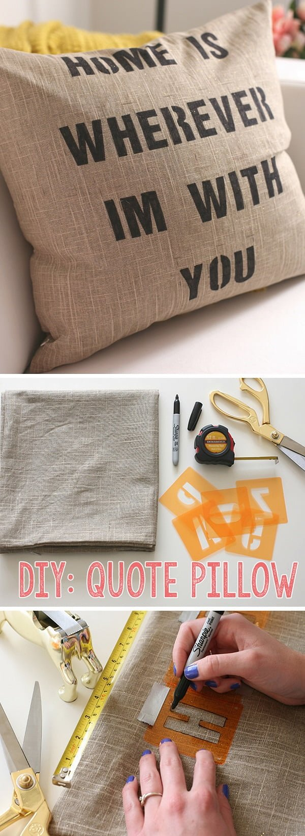 Check out this easy idea on how to make a #DIY quote pillow cover #homedecor on a #budget #crafts #project