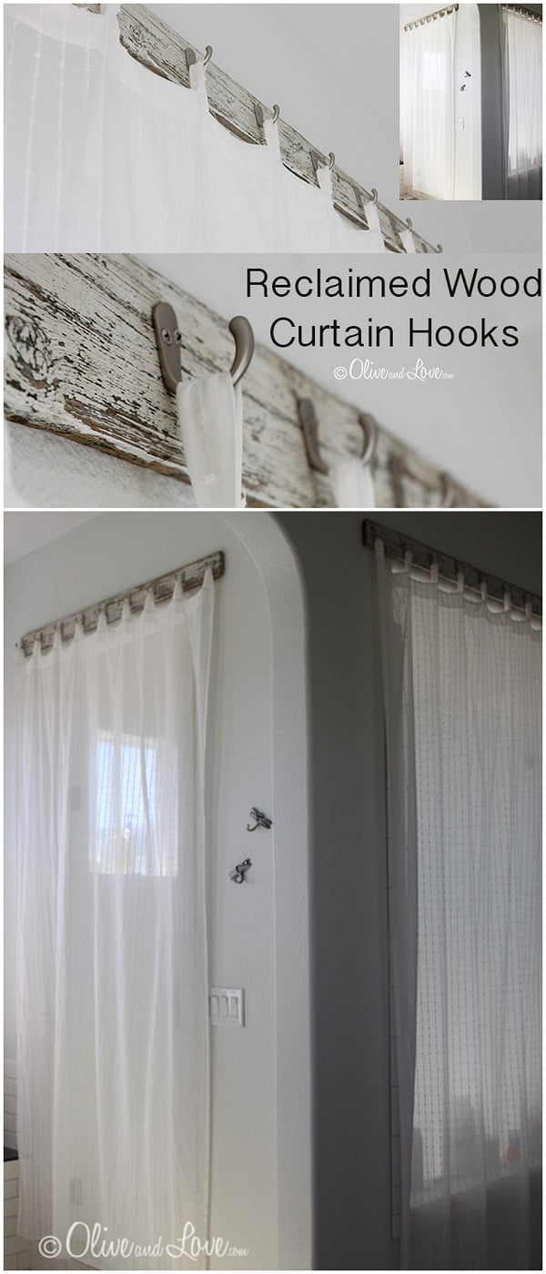 Check out this easy idea on how to make #DIY reclaimed #wood curtain hooks for #bathroom #homedecor on a #budget #rustic