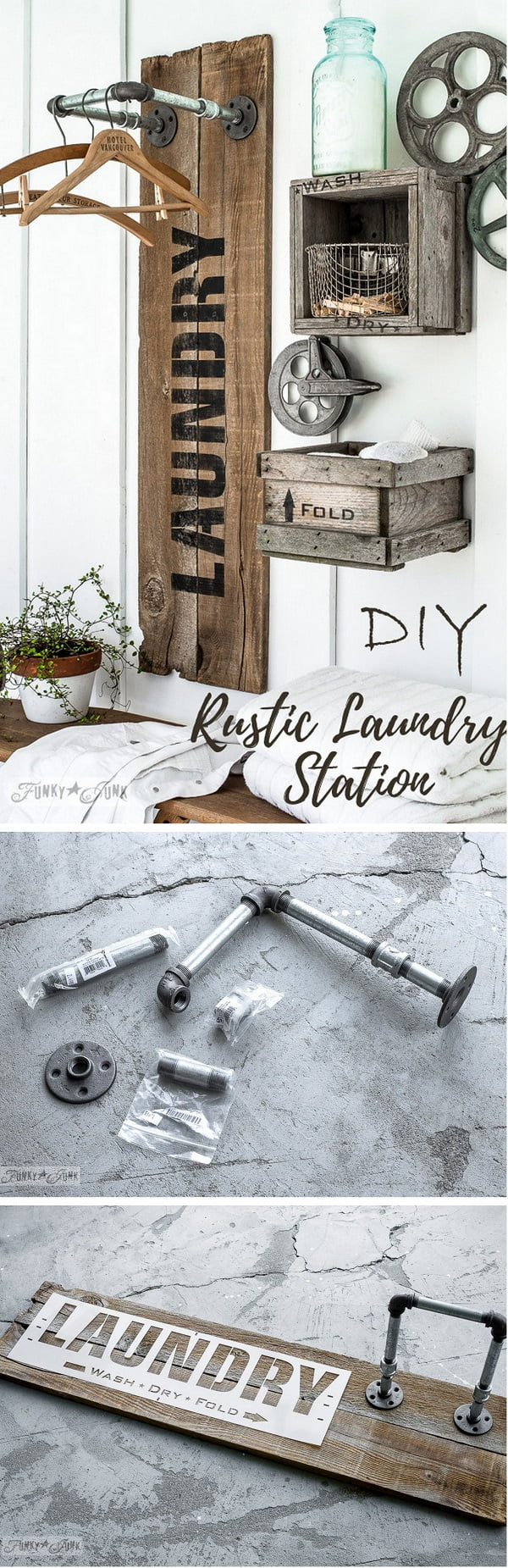 Check out this easy idea on how to make a #DIY #rustic laundry station on a #budget #homedecor #project