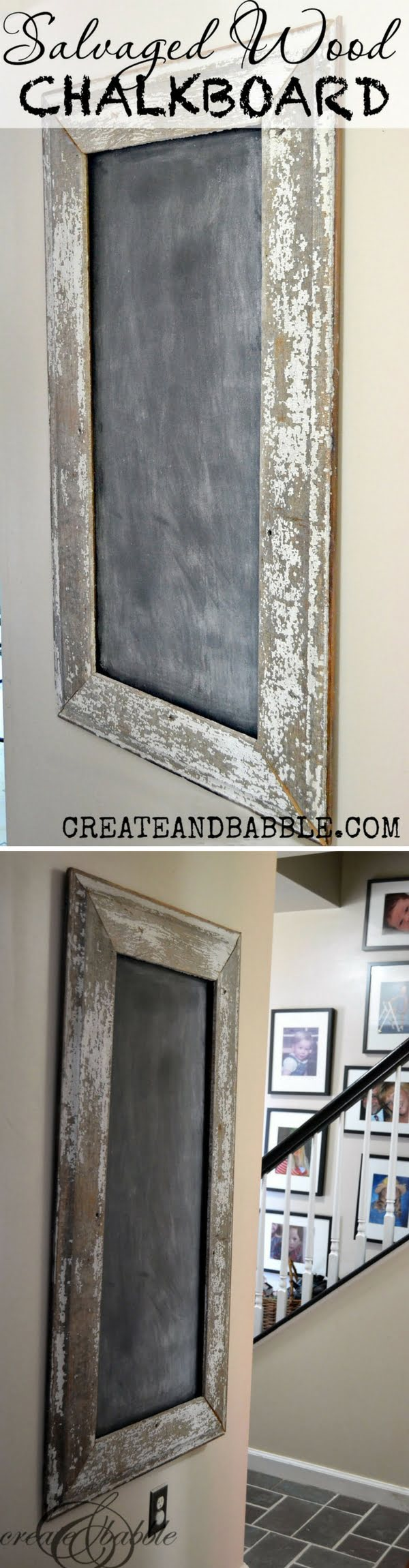 Check out this easy idea on how to make a #DIY salvaged #wood chalkboard #homedecor for #renters #project