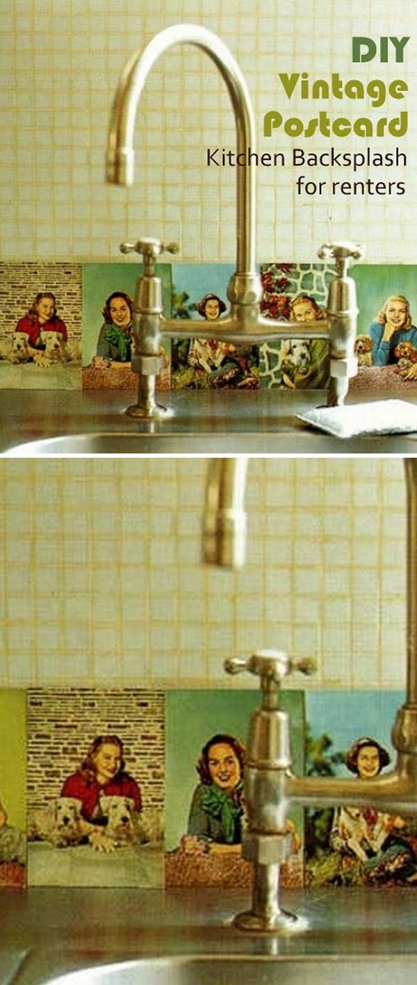 Check out this easy idea on how to make a #DIY vintage postcard #kitchen backsplash for #renters #homedecor #project