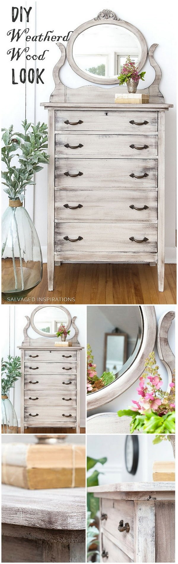 Easy idea on how to create a #DIY weathered #wood look #homedecor #farmhouse #project
