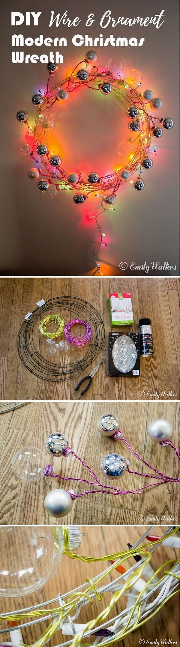 Check out this easy idea on how to make a #DIY #Christmas wire and ornament wreath #homedecor #crafts #project