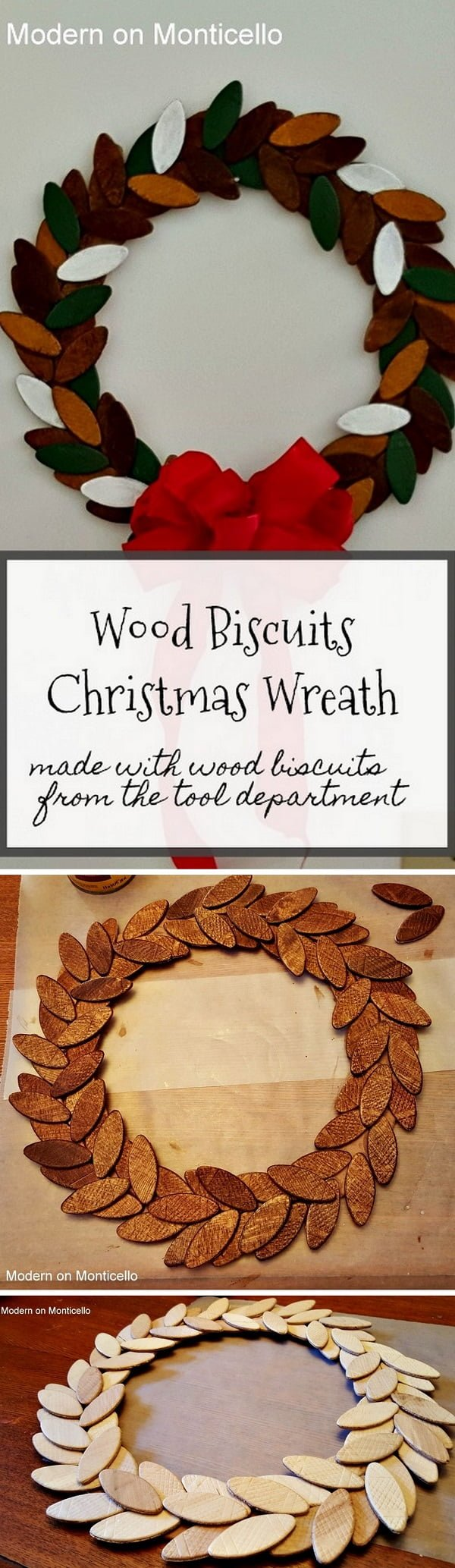 Check out this easy idea on how to make a #DIY #wood biscuit #Christmas wreath #homedecor #crafts