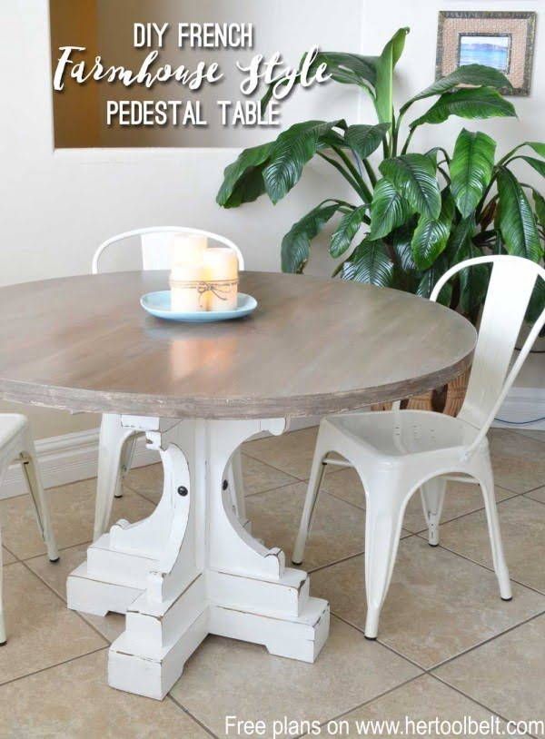 Check out this easy idea on how to build a #DIY French #farmhouse pedestal table #wood #crafts #homedecor