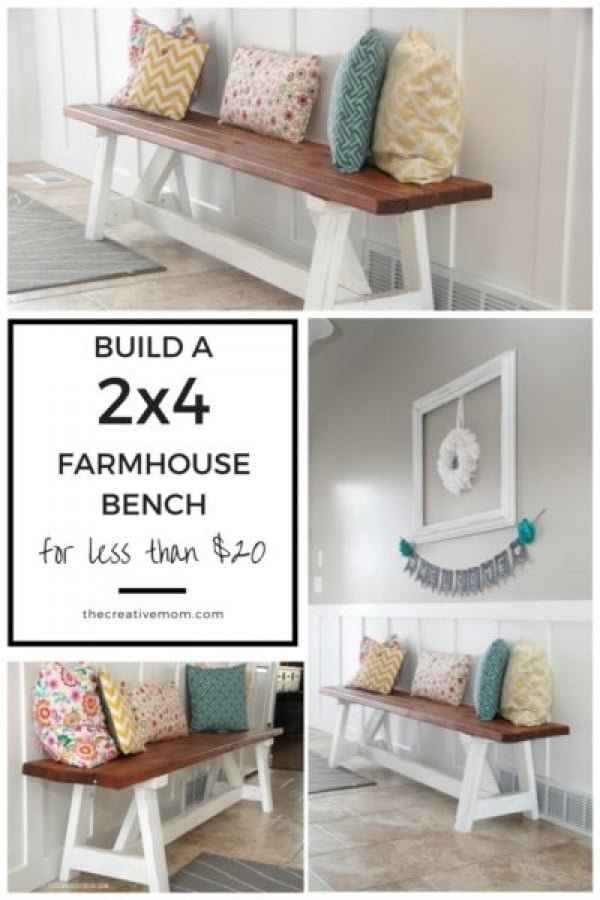 Check out this easy idea on how to build a #DIY #farmhouse bench from 2x4s #wood #project #homedecor