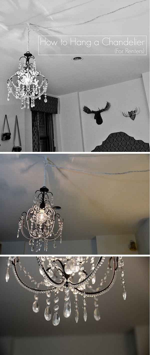 Check out this easy idea on how to #DIY hang chandeliers for #renters #apartments #homedecor #project