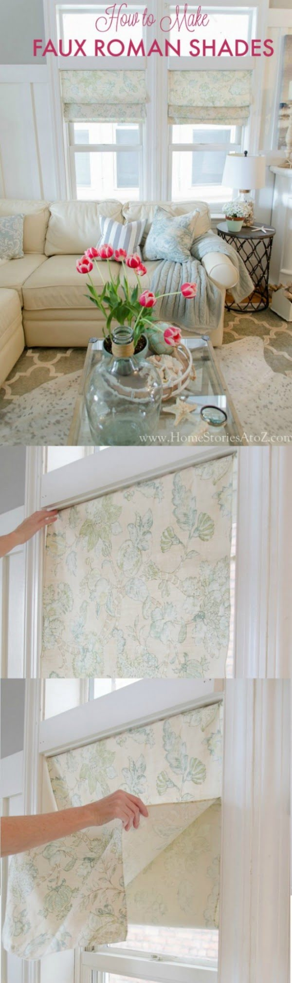 Check out this easy idea on how to make #DIY faux roman shades #homedecor for #renters #crafts #project