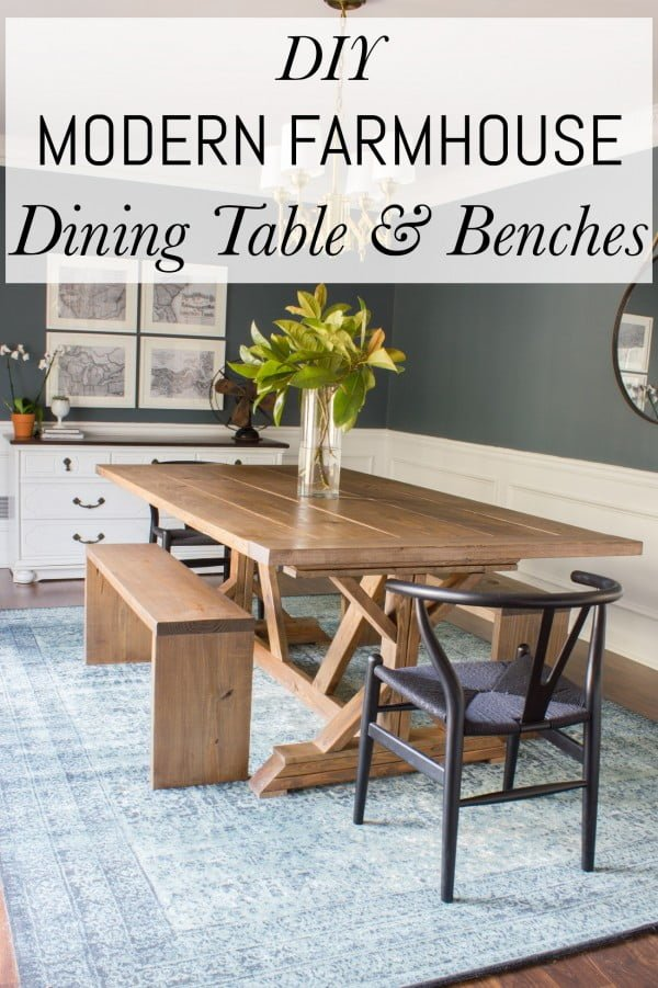 Check out this easy idea on how to make a #DIY #farmhouse dining table and benches #homedecor #crafts #wood