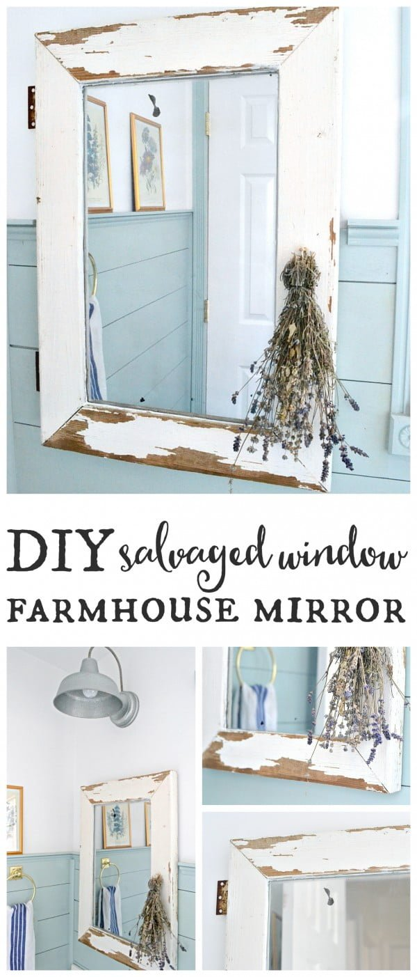 Check out this easy idea on how to make a DIY salvage window #farmhouse mirror #homedecor #rustic #crafts