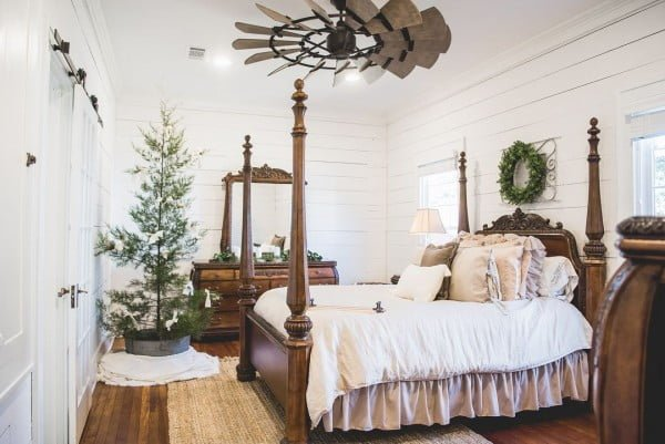 This #farmhouse bedroom rocks! Love the ceiling fan especially. #homedecor